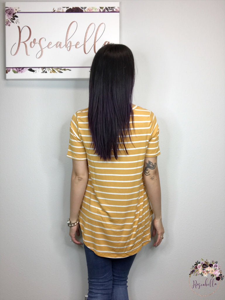 M & L ONLY Ash Mustard & Ivory Striped Top - RoseabellaCo