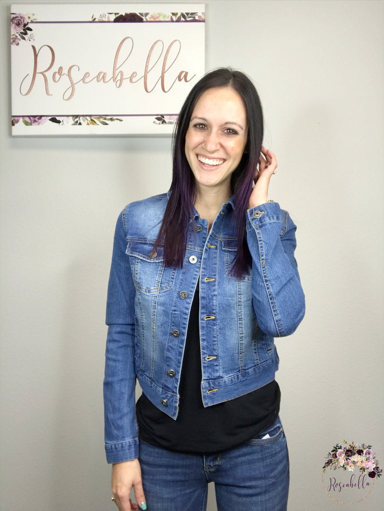 Medium ONLY Dark Denim Jean Jacket - RoseabellaCo