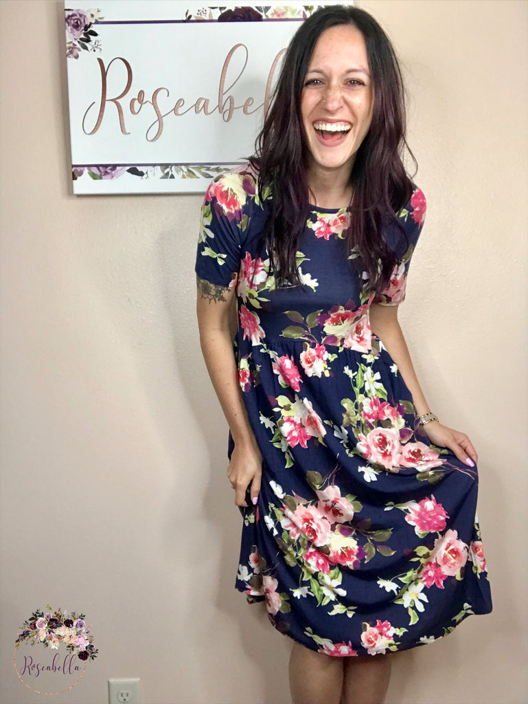 S, M, 3XL ONLY Navy Floral Mid-Length Dress - RoseabellaCo