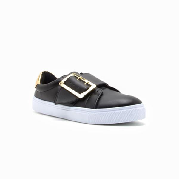Black Matte Buckle Sneakers - RoseabellaCo