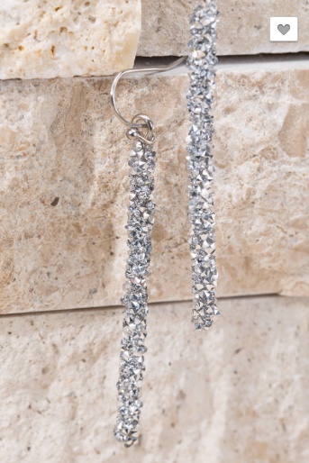 Silver Glitter Bar Earrings - RoseabellaCo