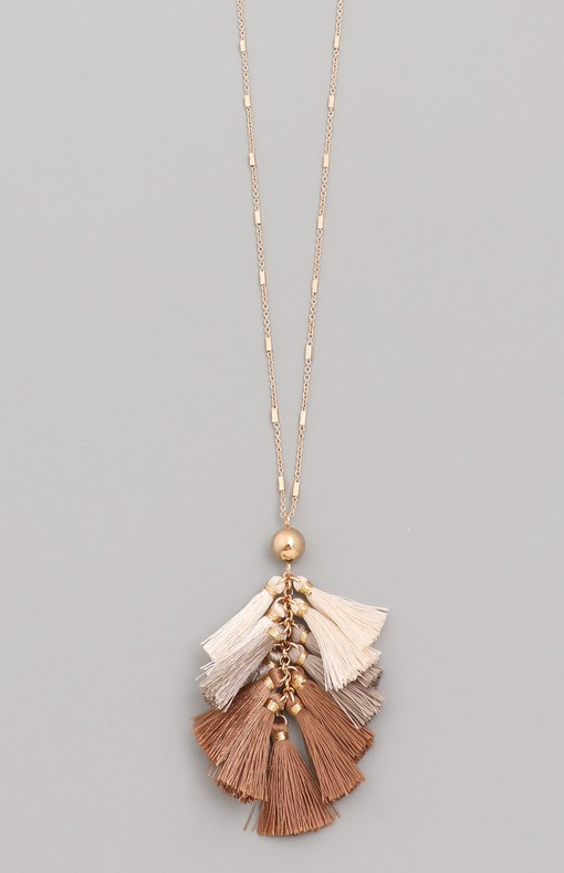 Chain Linked Brown Tassel Necklace - RoseabellaCo