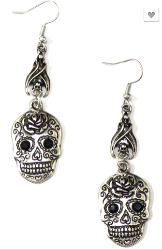 Sugar Skull Bat Drop Earrings - RoseabellaCo