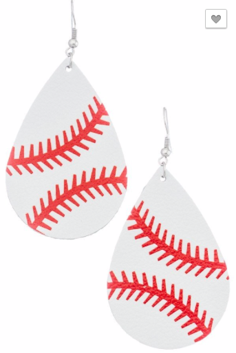 Baseball Teardrop Earrings - RoseabellaCo