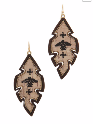 Tribal Leaf Drop Earrings - Roseabella