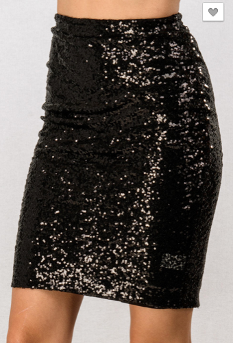 Black Sequin Skirt - Roseabella