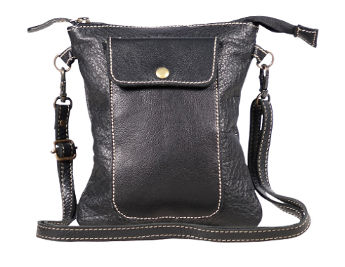 Black Leather Crossbody Bag - RoseabellaCo