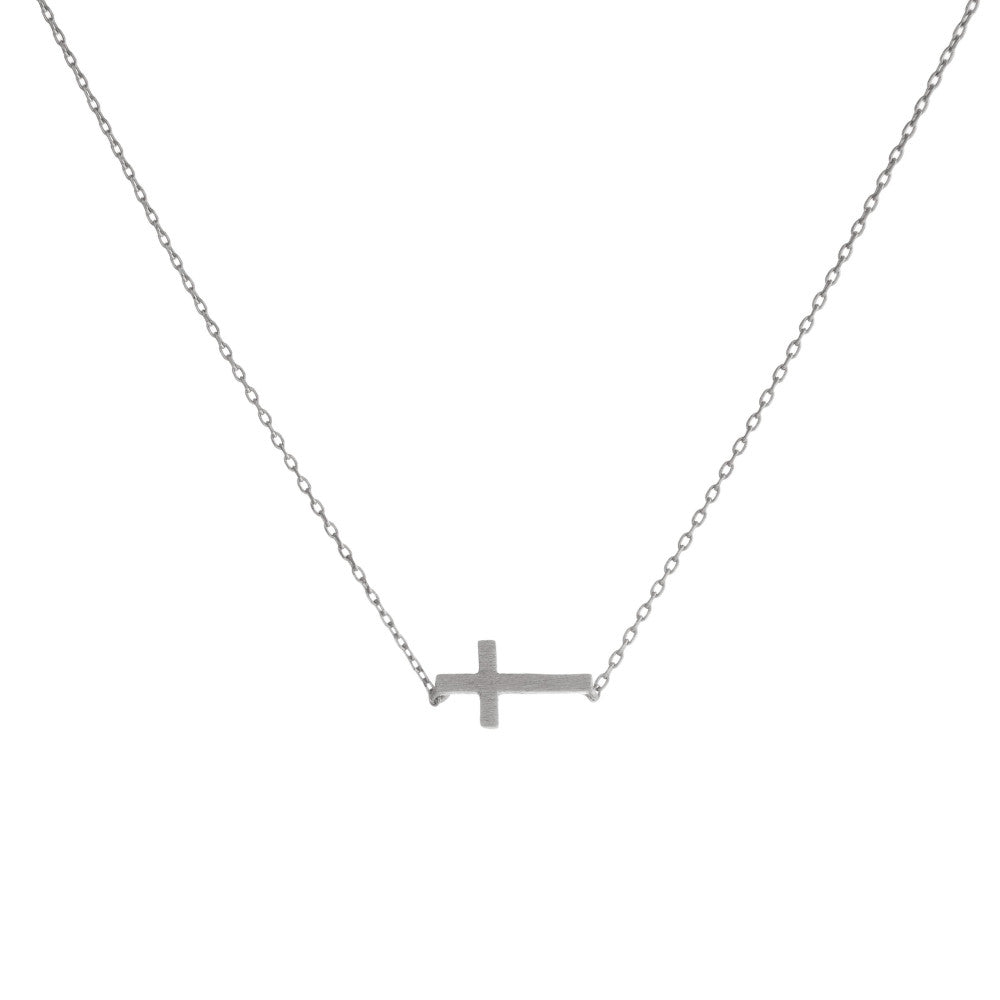 Silver Side Cross Necklace - Roseabella