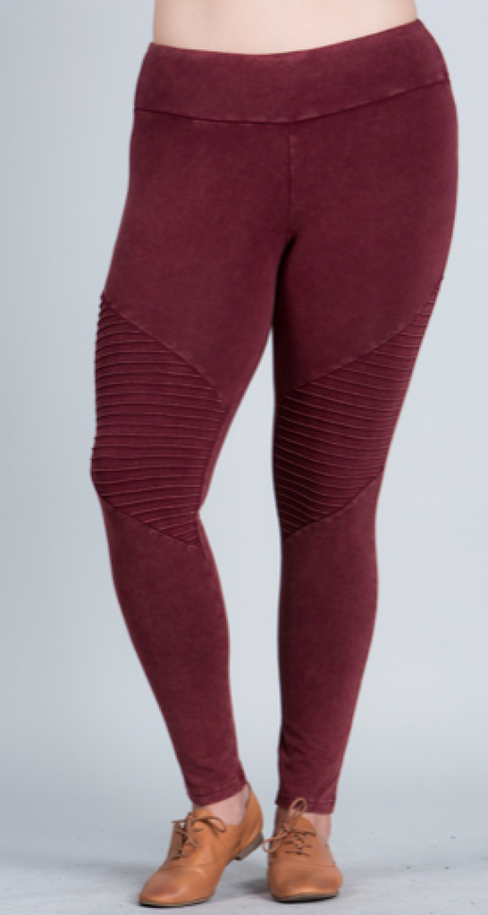 PLUS SIZE Wine & Olive Moto Leggings - RoseabellaCo