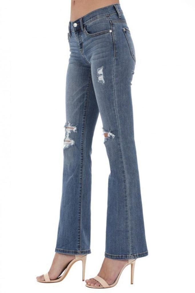 SIZE 1 ONLY Distressed Flare Jeans - RoseabellaCo