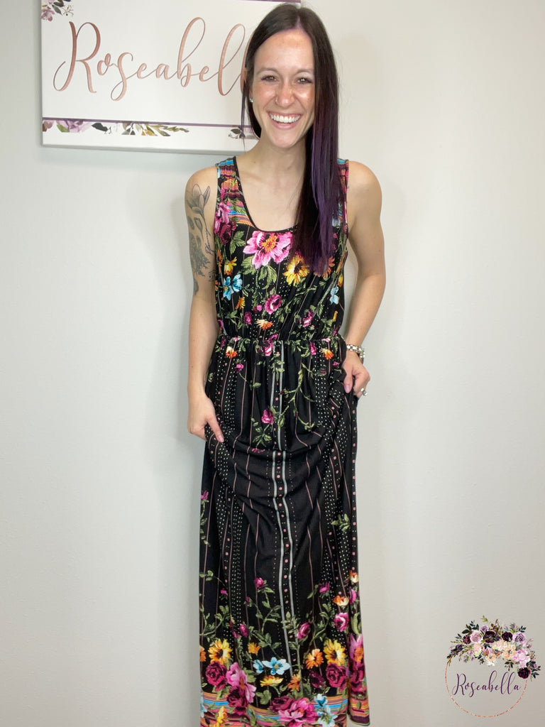 The Cascading Floral Dress - Roseabella