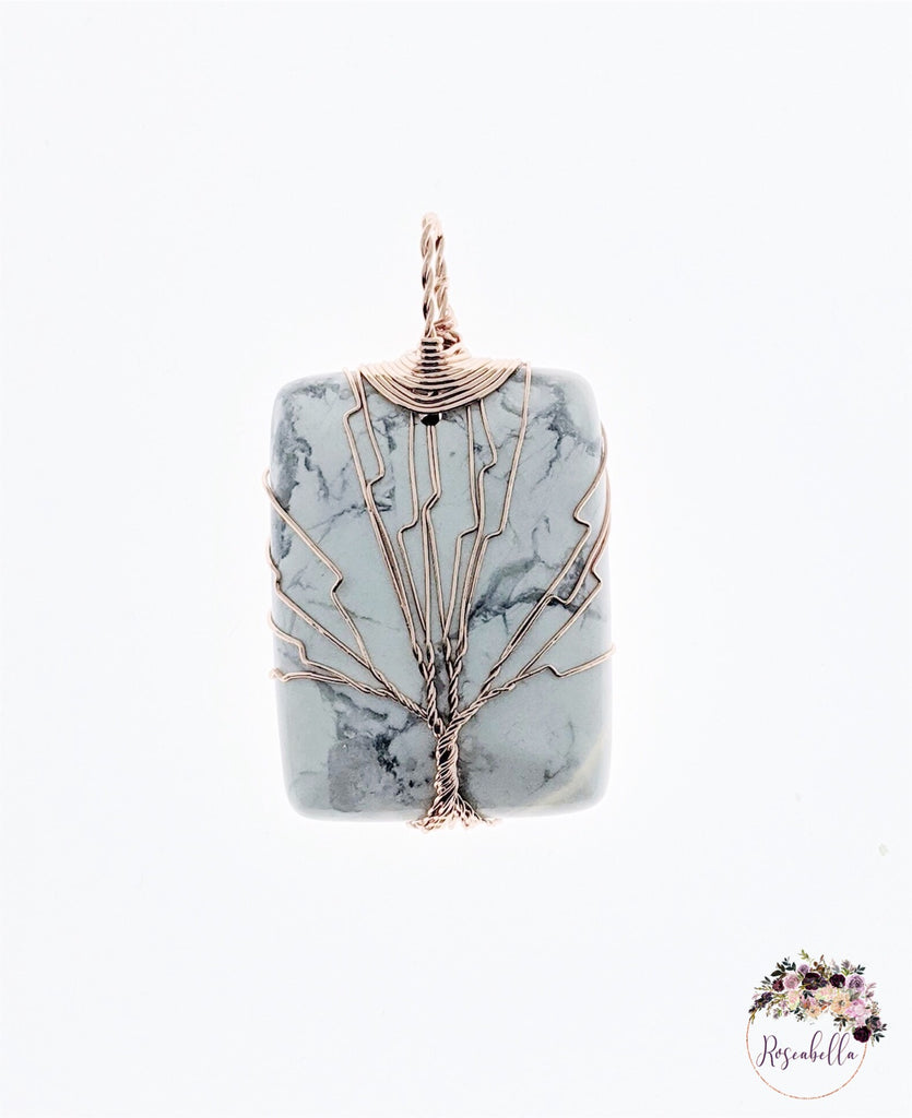 Rose Quartz ONLY Stone Wire Tree Pendant - RoseabellaCo