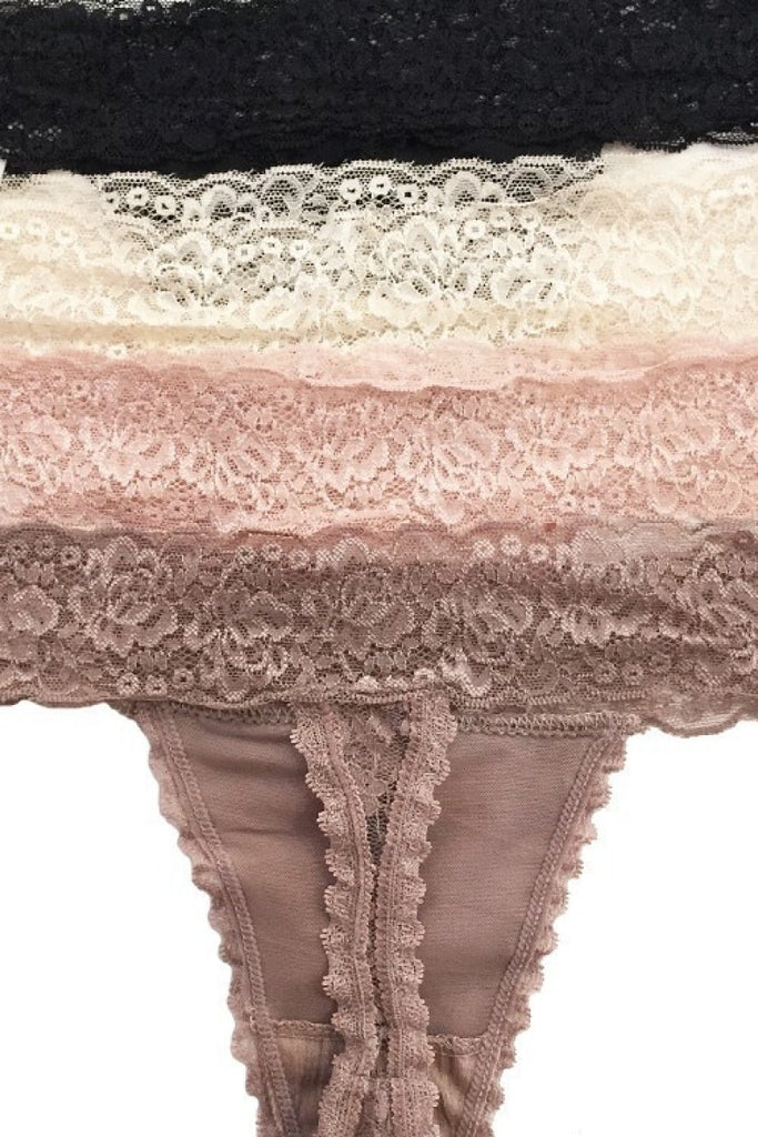 Medium ONLY 4PK Natural Lace Thong - RoseabellaCo