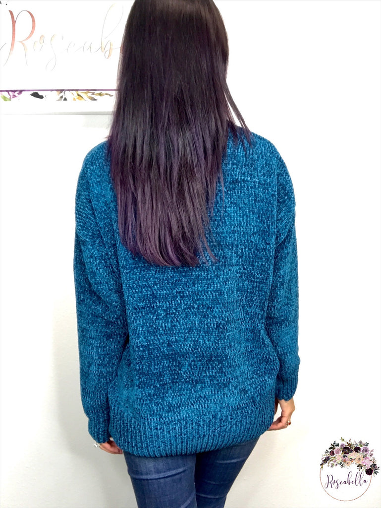 L & XL ONLY Peacock Chenille Sweater - RoseabellaCo