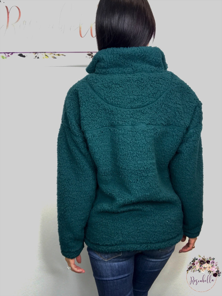L & XL ONLY Evergreen Sherpa Pull-Over - RoseabellaCo