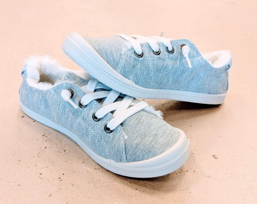 Gray Fur-Lined Sneakers - Roseabella
