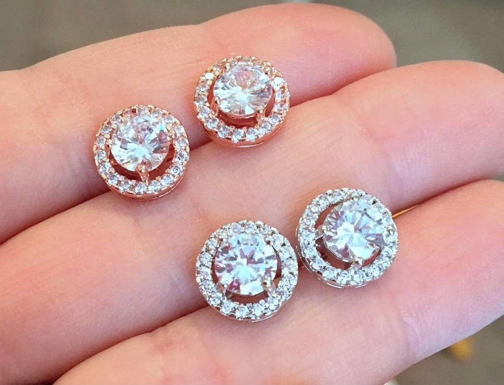 Crystal Round Stud Earrings - Roseabella