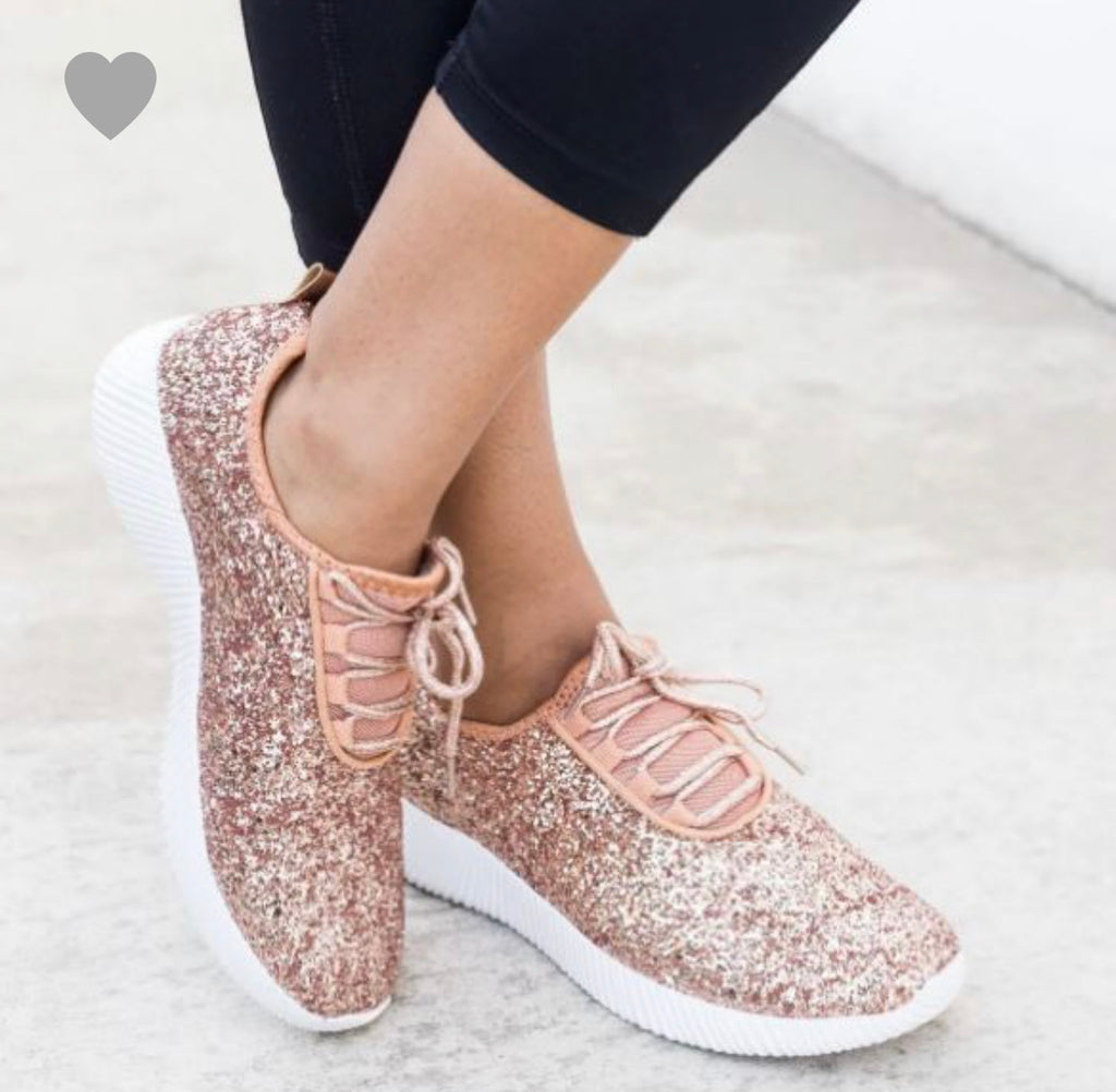 SIZE 5 ONLY Rose Gold Glitter Sneakers - RoseabellaCo