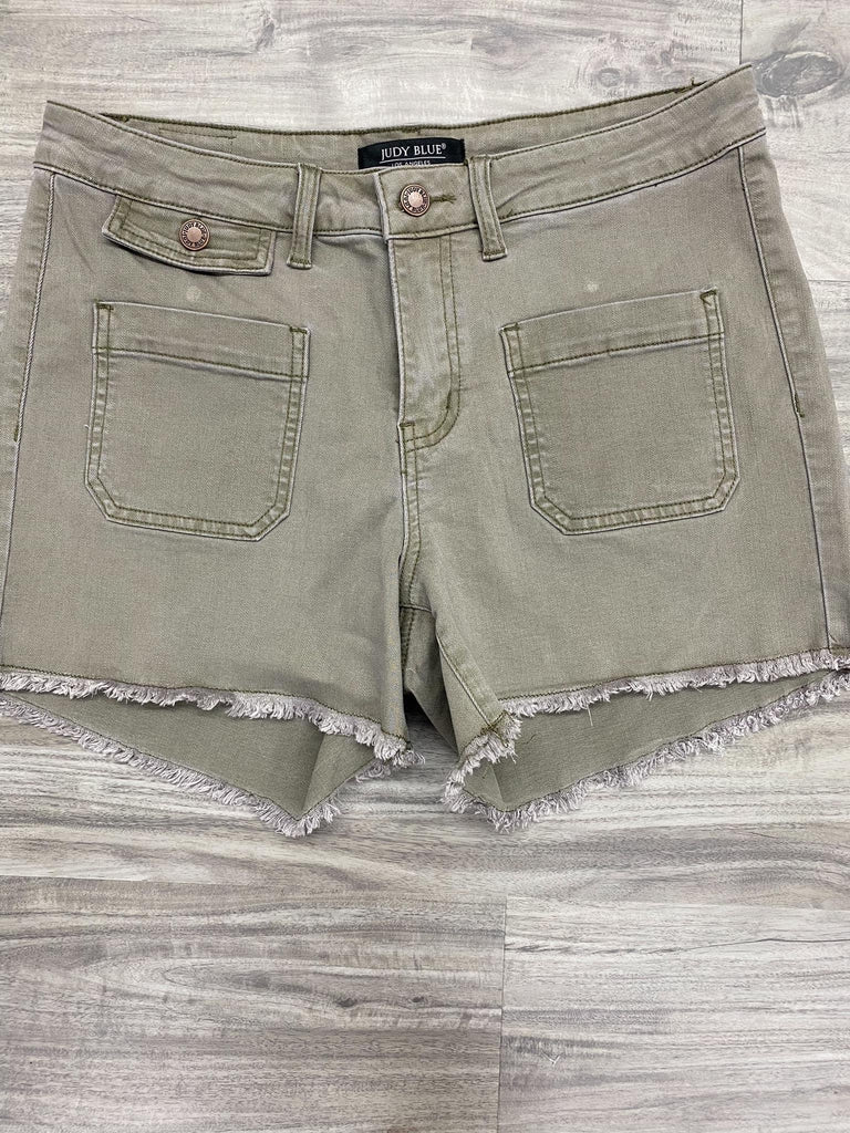 S & L ONLY Olive Cargo Pocket Shorts - RoseabellaCo