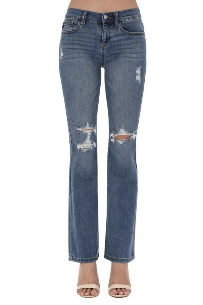 Distressed Flare Jeans - RoseabellaCo