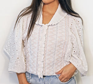 Embroidery Top, Broderie Anglaise Sleeves and Back