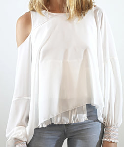 White Embroidered Cuffs Top