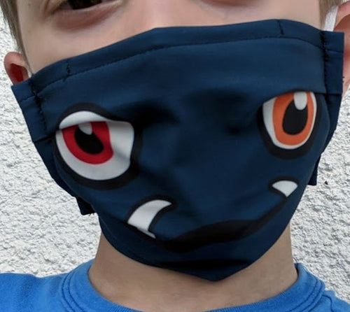 Reusable Child Mask - Blue Monster