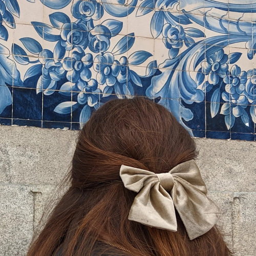 Hair Bow with Beige Velvet Bow