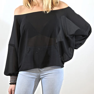 Smocked Cuffs Top Black