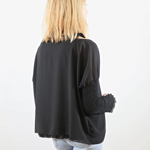 Black Top with Embroidered Sleeves