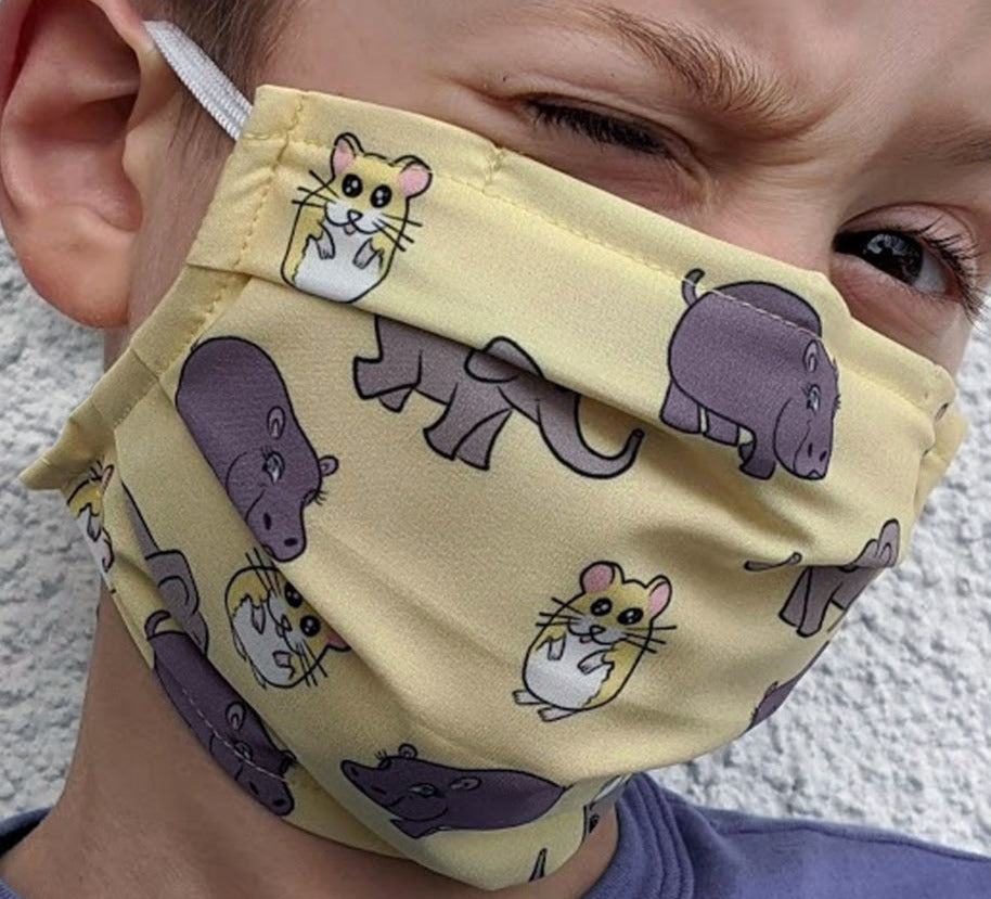Reusable Child Mask - Elephant Hamster Hippo