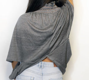 Embroidered Top Gray Linen