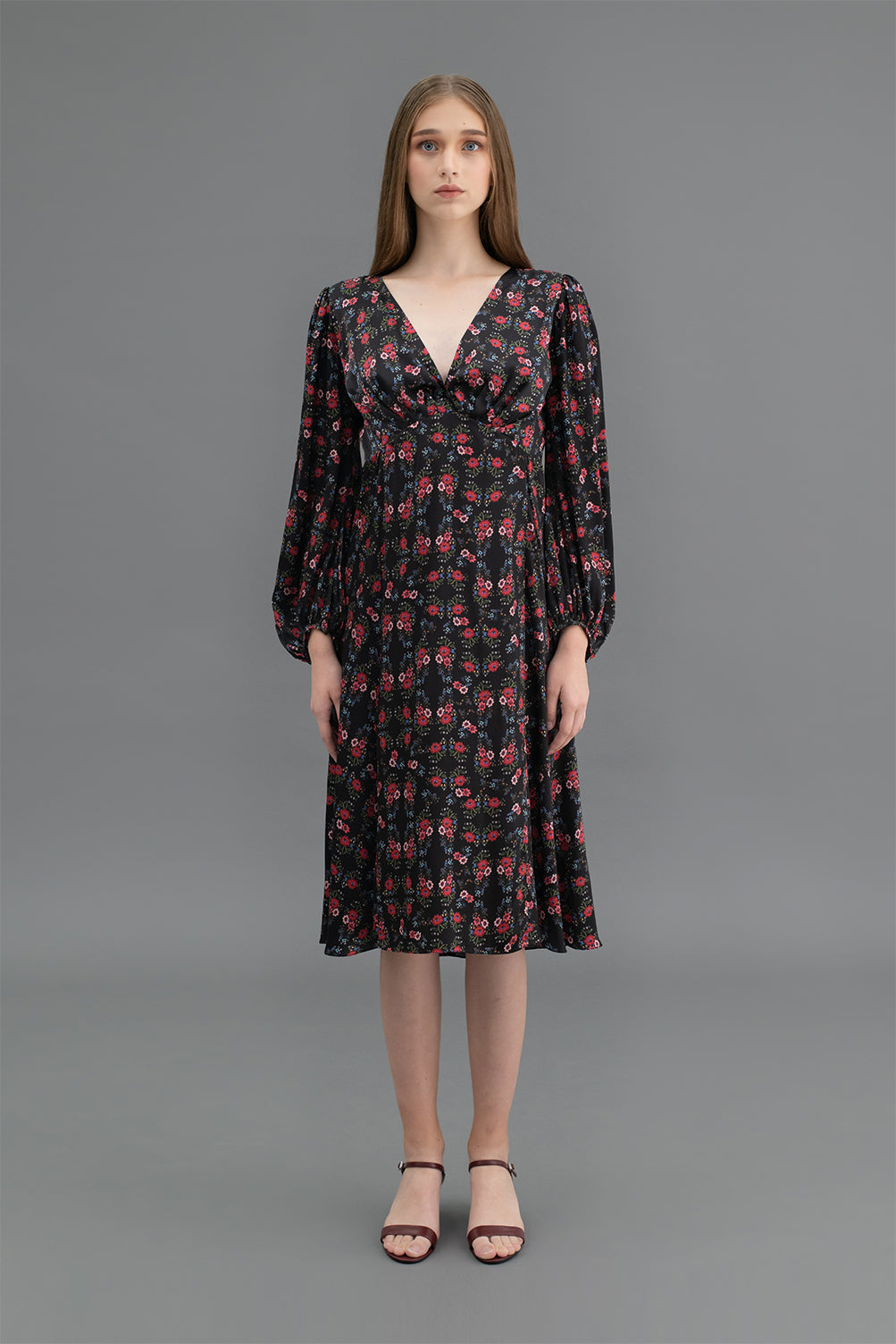 Adele Dress Flowers Black