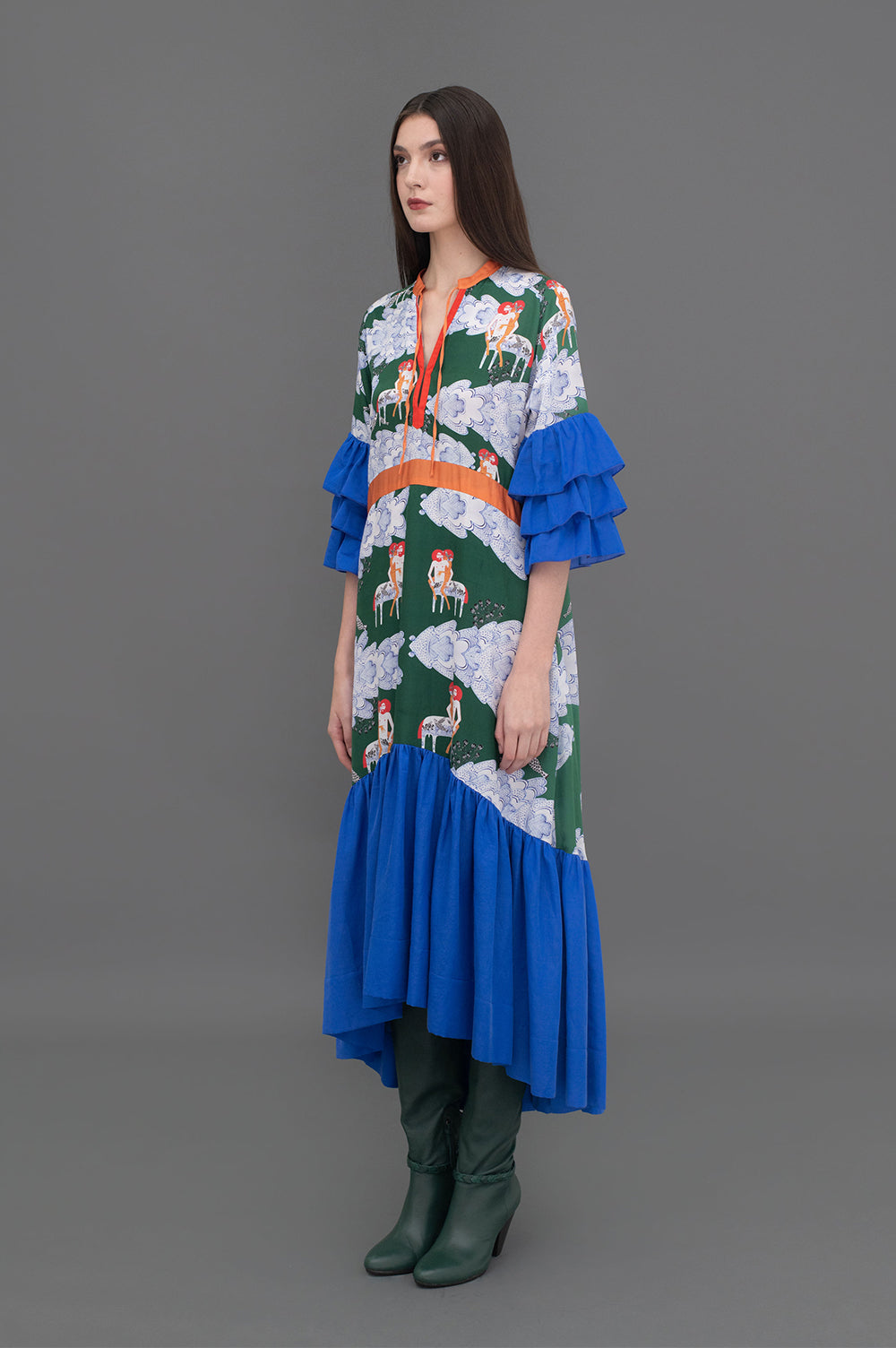 Valentina Dress Centurion Clouds Green