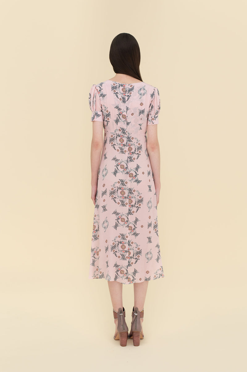 Adele Dress 7/8 Length Pink Tiles
