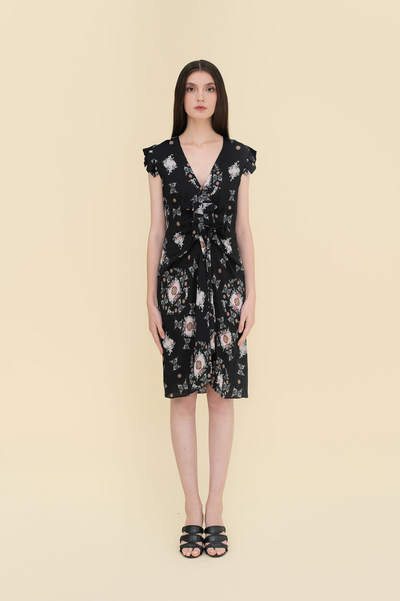 Diane Dress Black Tiles