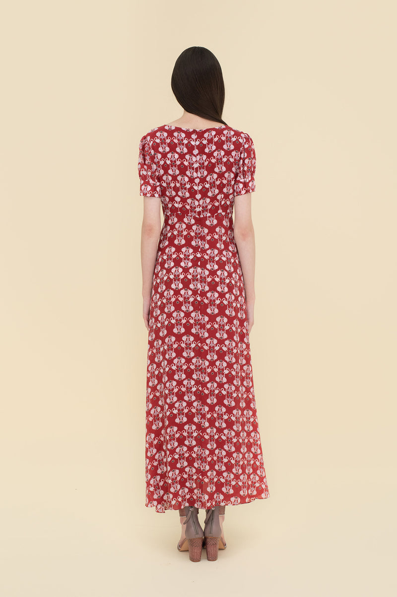 Adele Maxi Dress Red Swans