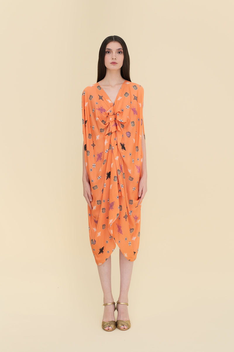 Sienna Pleats Kaftan Orange Tiles