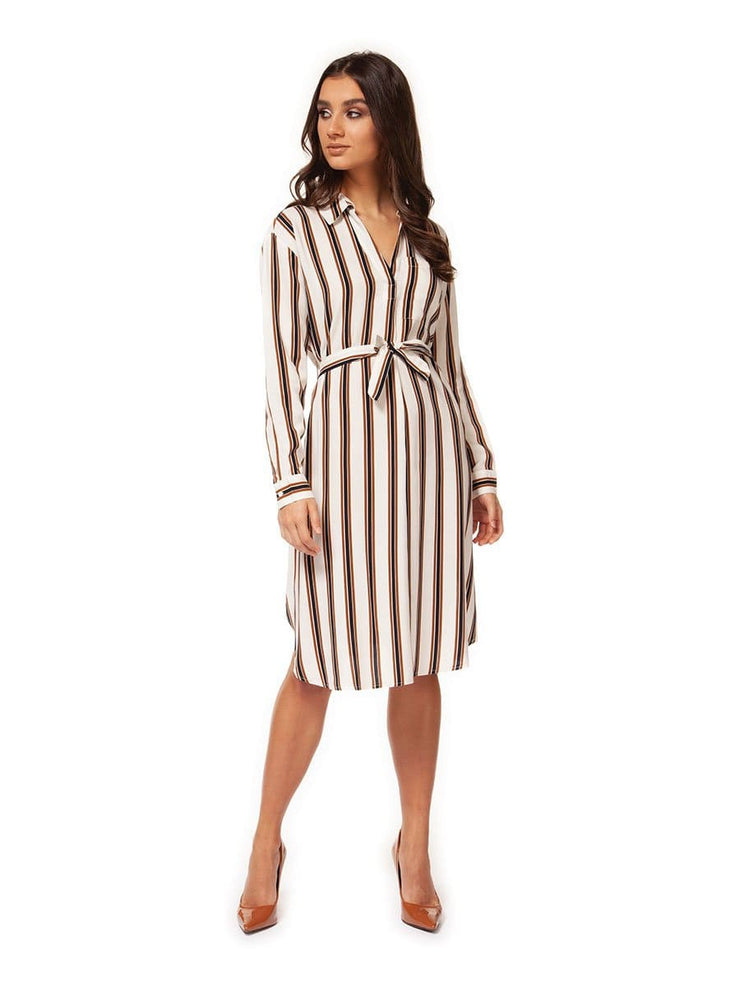 Long Sleeve V-Neck Dress with Self Sash