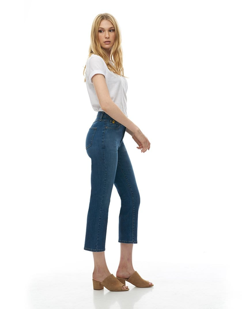 Chloe High-Rise Cropped Straight Jean - Earth