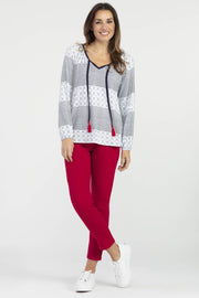 Women's LS Raglan Top W/ Tassel