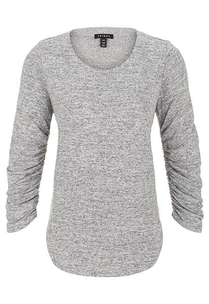 Longsleeve Crew Neck Top with Shirring Details