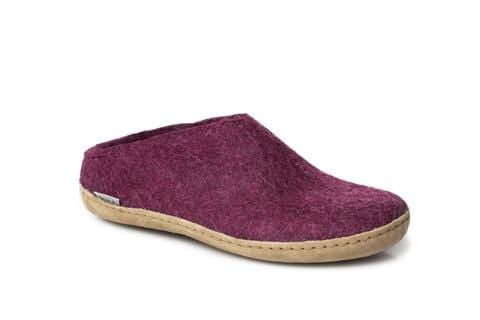 Glerups Open Heel Slipper - Leather - Cranberry