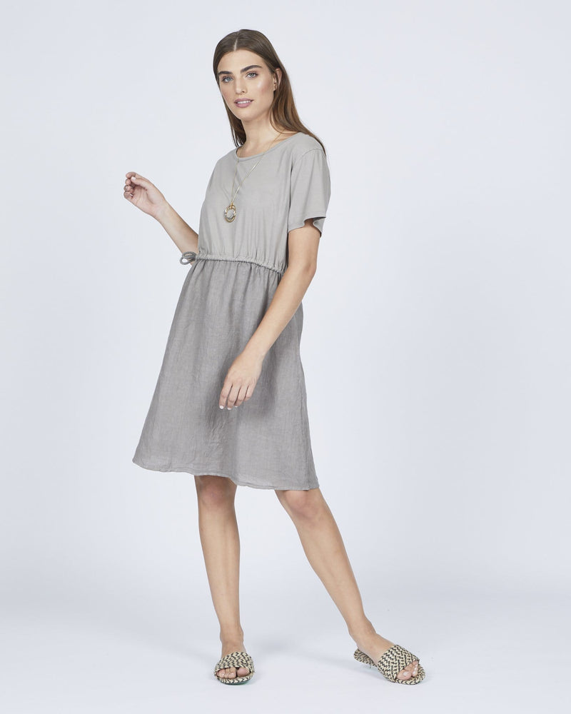 Linen Dress w/ Cotton Jersey Top and Drawstring Waist