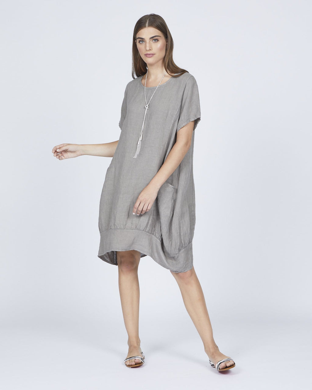 Bubble SS Linen Dress