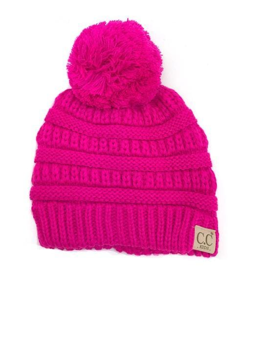 Kids Cable Knitted Pom Beanie