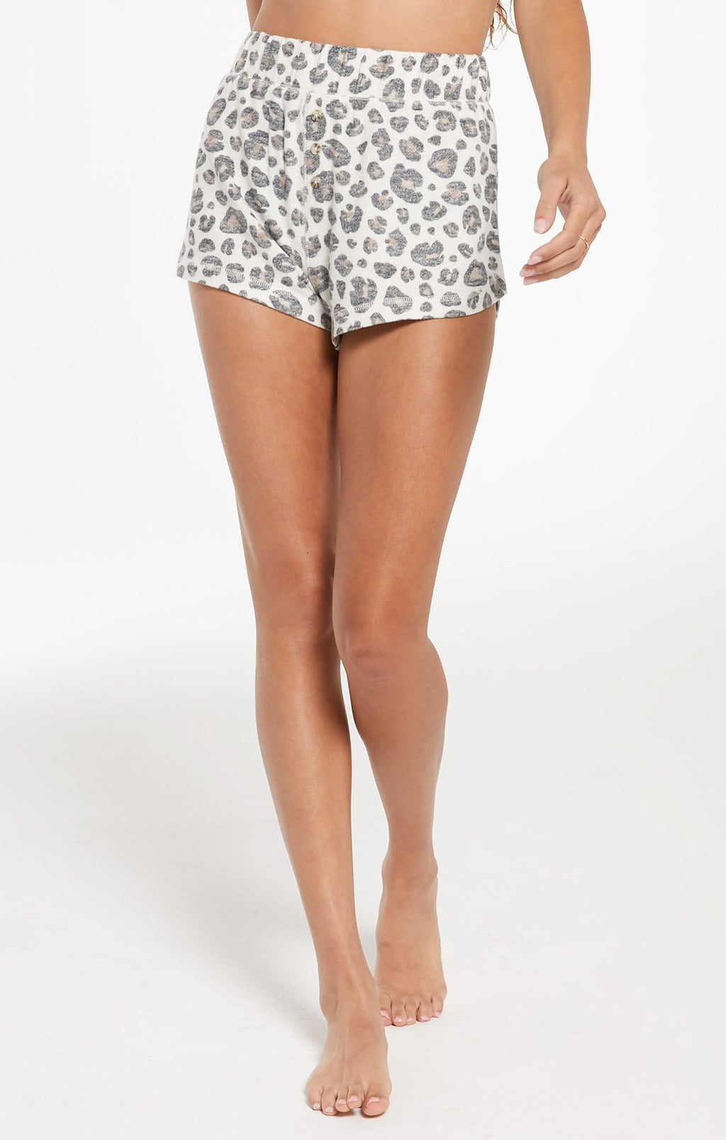 Bree Brushed Slub Leopard Short