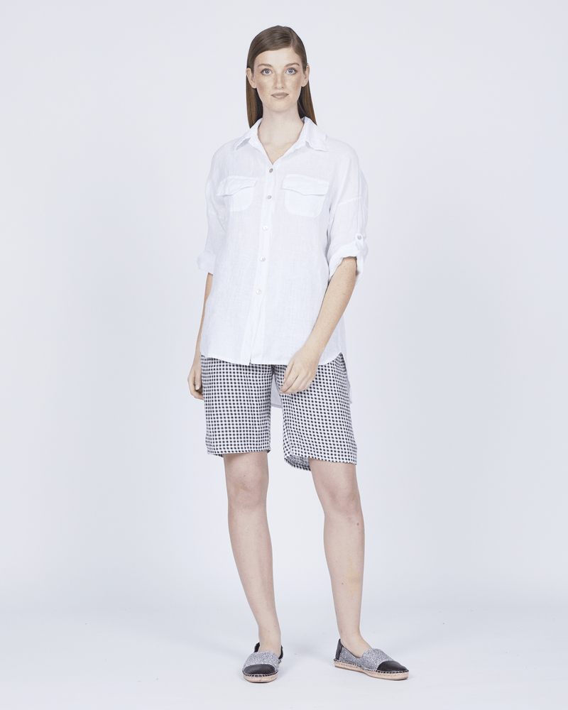 Women's Loose Double Pocket Linen Blouse