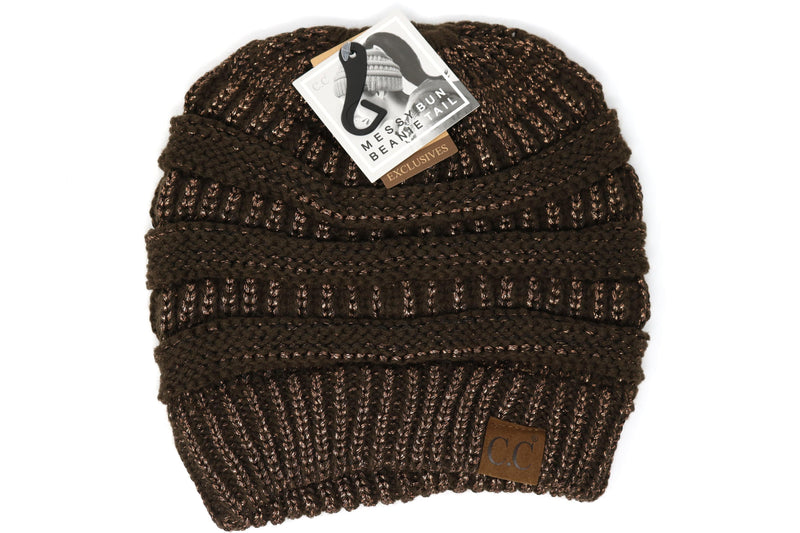 Women's Metallic Messy Bun Beanie
