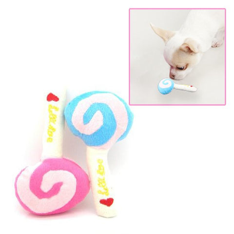 Unique Pet Dog Puppy Animal Squeaky Squeaker Sound Toy Chews Cotton Wool Lollipop High Quality (Random Color )
